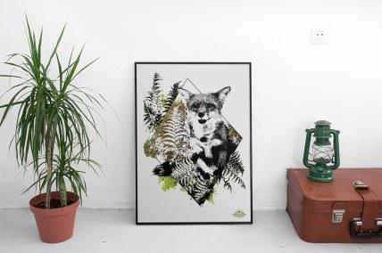 """Mock Up mit der illustration – """"Der Fuchs"""" – Vulpes vulpes aus der Bilderserie HelvEdition von Ka L-O-K   Graphic Arts"""