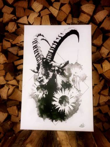 """Capra Ibex"" – HelvEdition | Ka L-O-K | Graphic Arts – Fine Art Canvas Print, Limited Edition"