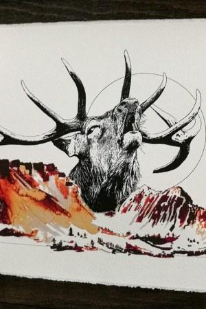 """Fine art print on deckled edge paper of HelvEdition illustration """"Cervus Elaphus"""" (The Stag) by Ka L-O-K"""