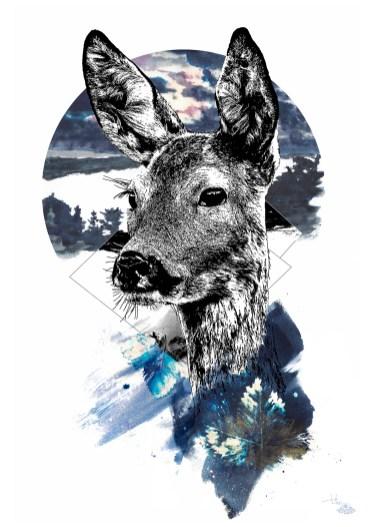 """Illustration HelvEdition """"Capreolus Capreolus"""" – La Chevrette (Chevreuil) crée en août 2020, Ka L-O-K"""