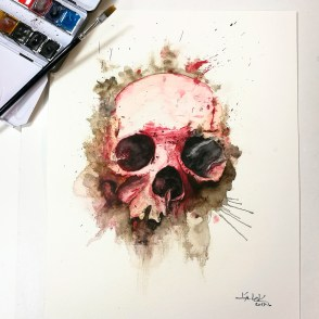 "Watercolor Painting ""Skull Rosa"", Ka L-O-K"