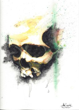 "Watercolor Painting ""Skull 201801"", Ka L-O-K"