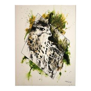 """Falco Cherrug"", HelvEdition - Leinwandruck, handverziertes Unikat von  Ka L-O-K"