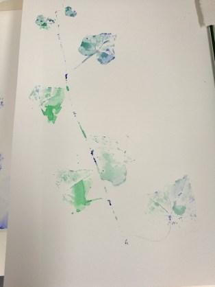 "Print and Watercolor, ""Feuilles Lierre"", Ka L-O-K"