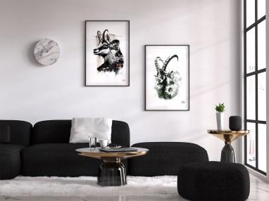 """Mock Up / Modèle avec les illustrations – """"Le Camois"""" et """"Le Bouquetin"""" de la série HelvEdition par Ka L-O-K   Graphic Arts"""