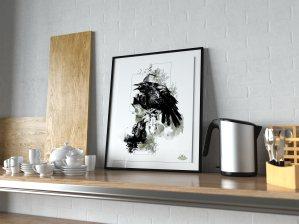"""Mock Up / Modèle avec l'illustration – """"Les corneilles"""" Corvus corvus de la série HelvEdition par Ka L-O-K   Graphic Arts"""