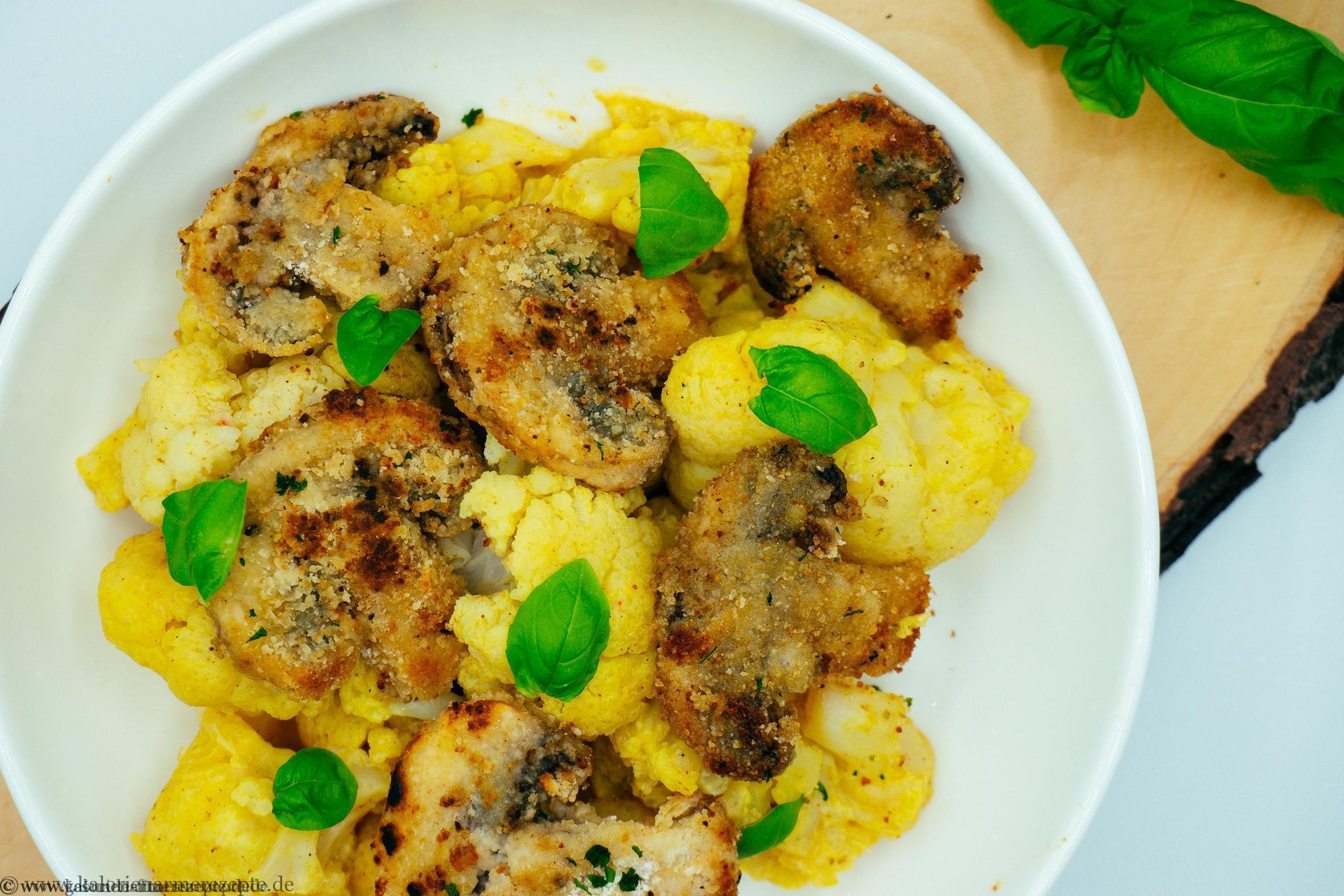 Blumenkohl mit panierten Champignons - Gesunde kalorienarme Rezepte