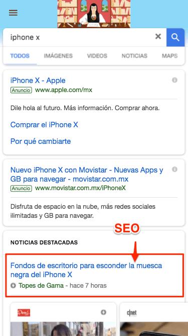 como se ven resultados de seo en mobile - como usar google
