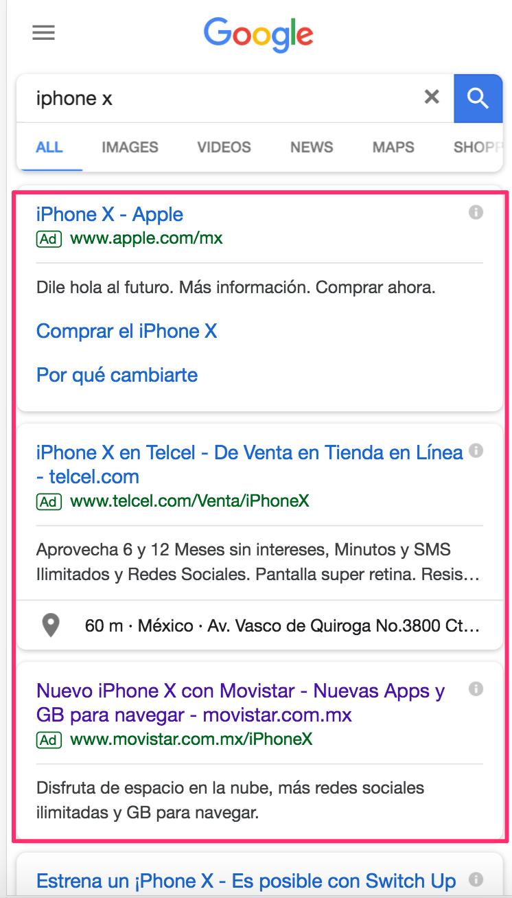ejemplos de sem en mobile - cómo usar google