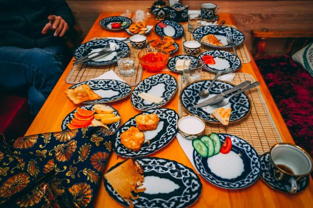 Table full of dishes in Central Asia