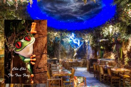 Cha ! Cha ! the tree frog mascot of Rainforest Cafe