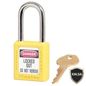 Master Lock 410KAYLW Yellow Keyed Alike Safety Padlock Zenex Thermoplastic