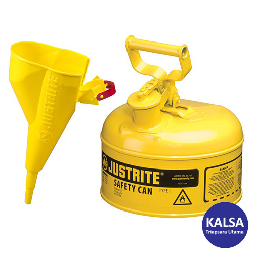 Distributor Justrite 7110210 Type I Yellow Larger Capacity Trigger Safety Container