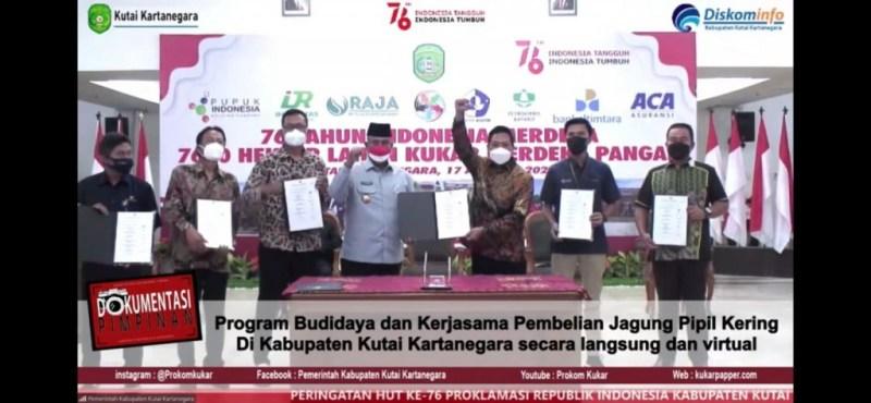 MoU Kerjasama Program Budidaya dan Kerjasama Pembelian Jagung Pipil Kering di Kabupaten Kutai Kartanegara/ IST
