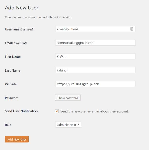 Add new WP user