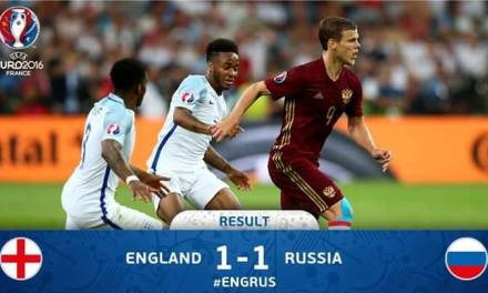 Russia claimed a dramatic 1-1 draw against England through an injury-time leveler.