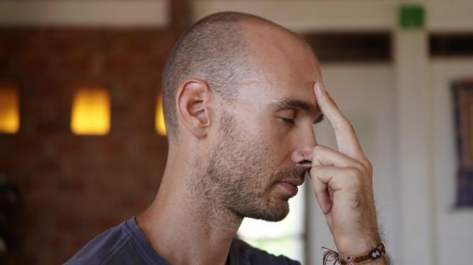 Adam practicing pranayama