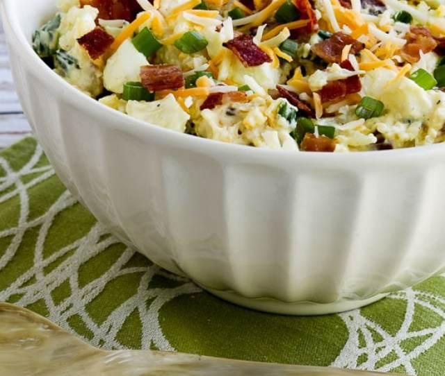 Low Carb Loaded Cauliflower Mock Potato Salad Found On Kalynskitchen Com