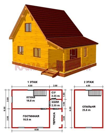 Дом из бруса с террасой, тамбуром и холлом