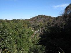 天園ハイキングコース瑞泉寺〜獅子舞上合流地点間。左手に瑞泉寺と大平山がみえます。