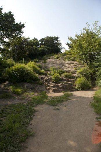 正面の岩肌を登ると大平山の頂上です。
