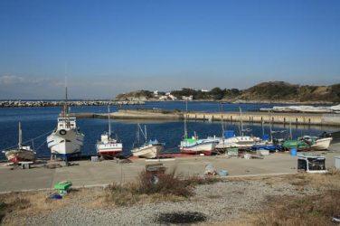 見桃寺前の眺望。右手の方に自然の海岸線も残されています。