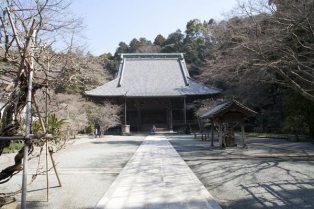 妙本寺の境内。正面の祖師堂は鎌倉最大級の木造仏像建築です。