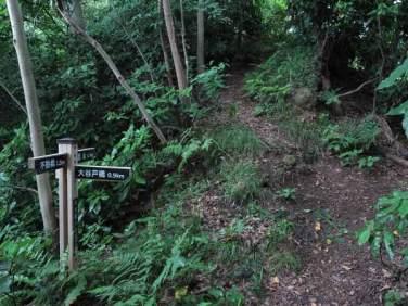 畠山城址直前の道標。あと100mです。