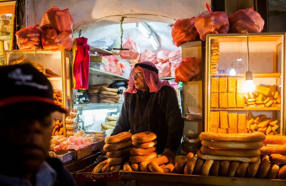 stall selling bread, in David street,Souk Arabic, Old City, Jerusalem, Israel.