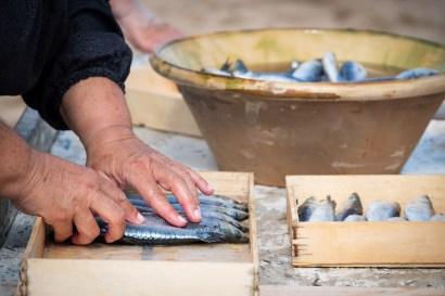 Fiesta de la Sal. Proceso de salado de sardinas.