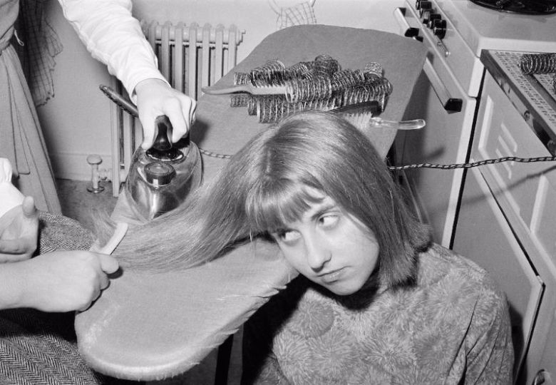 Ironing hair with a clothes iron, 1960 (4)