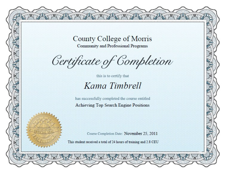 Certificate of Completion, Achieving Top Search Engine Positions, Kama Timbrell