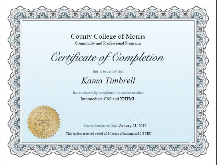 Certificate of Completion Intermediate CSS.XHTML, Kama Timbrell