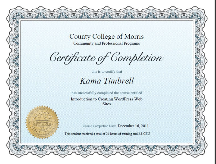 Completion Certificate Creating Wordpress Web Sites, Kama Timbrell