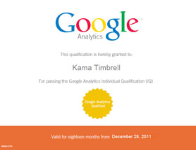 image, Kama Timbrell Google Analytics Certification