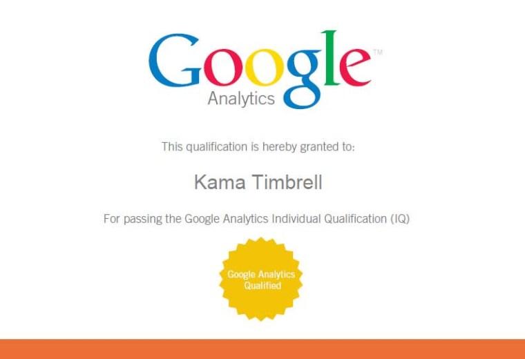 Google Analytics Individual Qualification Certificate, Kama Timbrell