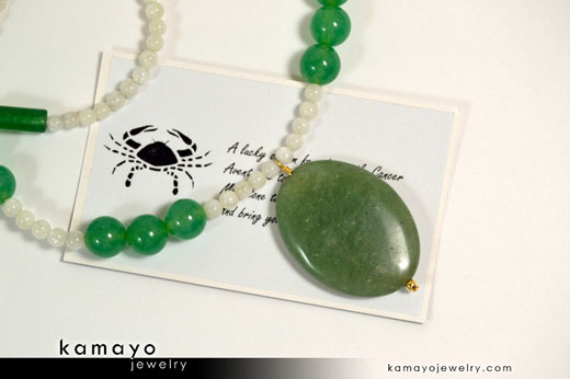 Cancer Necklace - Green Aventurine Pendant and White Moonstone Beads