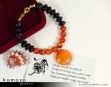 Leo Bracelet - Sardonyx Pendant and Black Onyx Beads