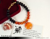 Leo Bracelet - Sardonyx Pendant and Black Onyx Beads