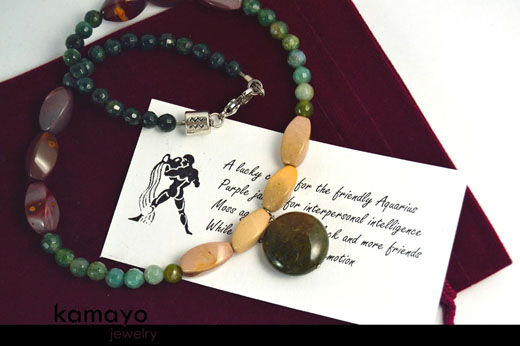 Aquarius Necklace - Moss Agate Pendant