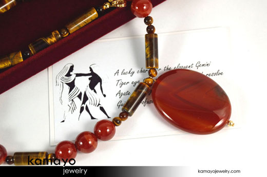 Gemini Necklace - Red Agate Pendant and Tiger Eye Beads