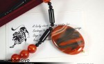 Leo Necklace - Sardonyx Pendant and Black Onyx Beads