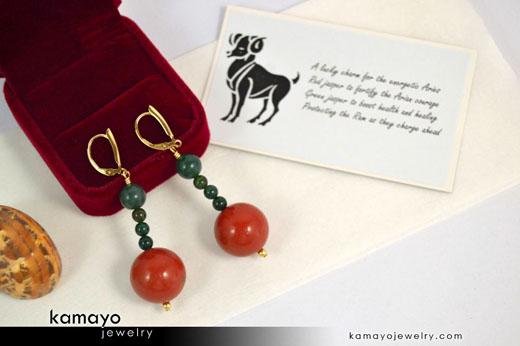 Aries Earrings - Red Jasper Pendant and Green Jasper Beads
