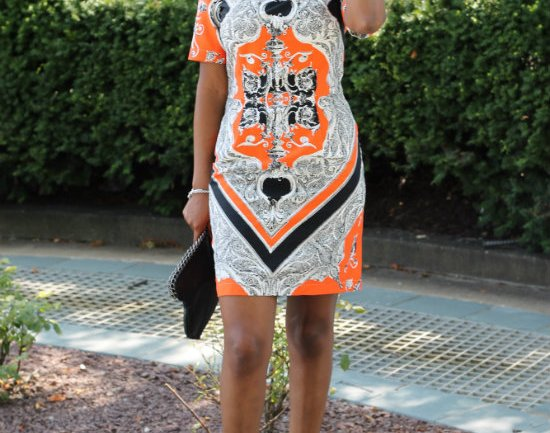 Who it Best: The Orange Baroque Printed Skirt
