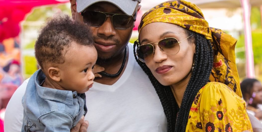 See Adorable Photos of D'ija, Her Husband Rotimi and Their Son At  A Family Function
