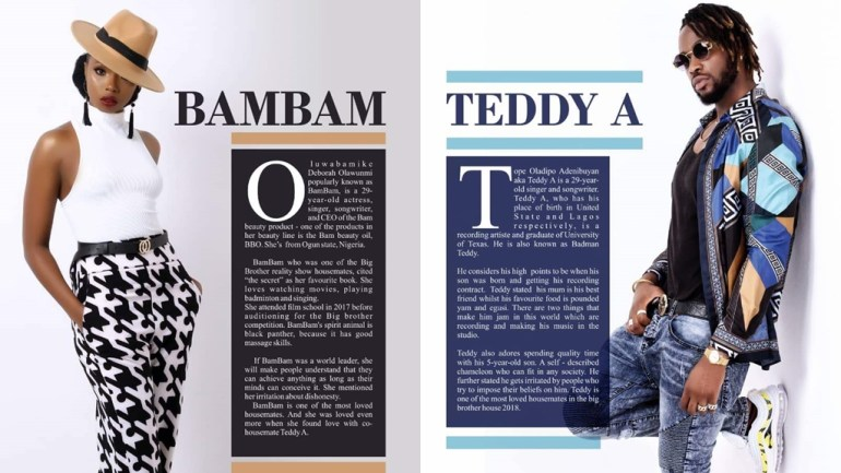 The Love Goes On! #BBNaija BamBam & Teddy A are Couple Goals On The Celebrity Shoot Magazine