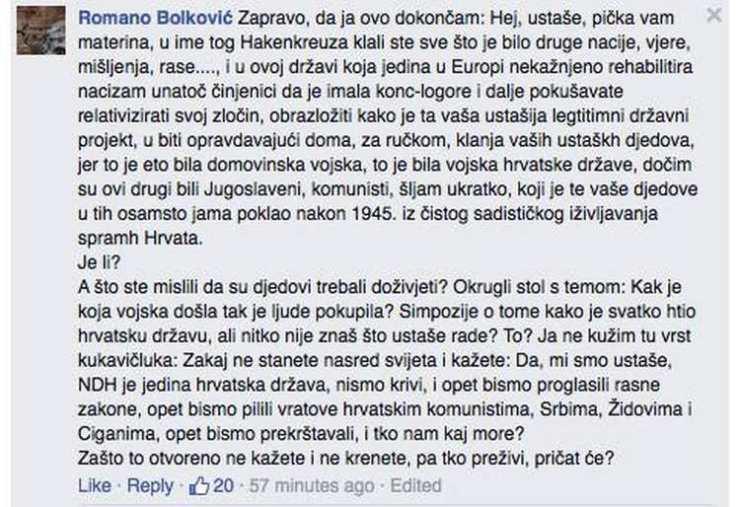 Screenshot Romano Bolković fb