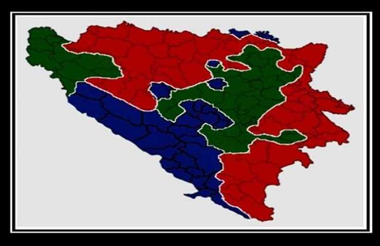 Zemljopisna karta BiH, podjela prema nacionalnoj pripadnosti. (Izvor: Wikipedia, Free use.) Za potrebe bloga prilagodio autor.