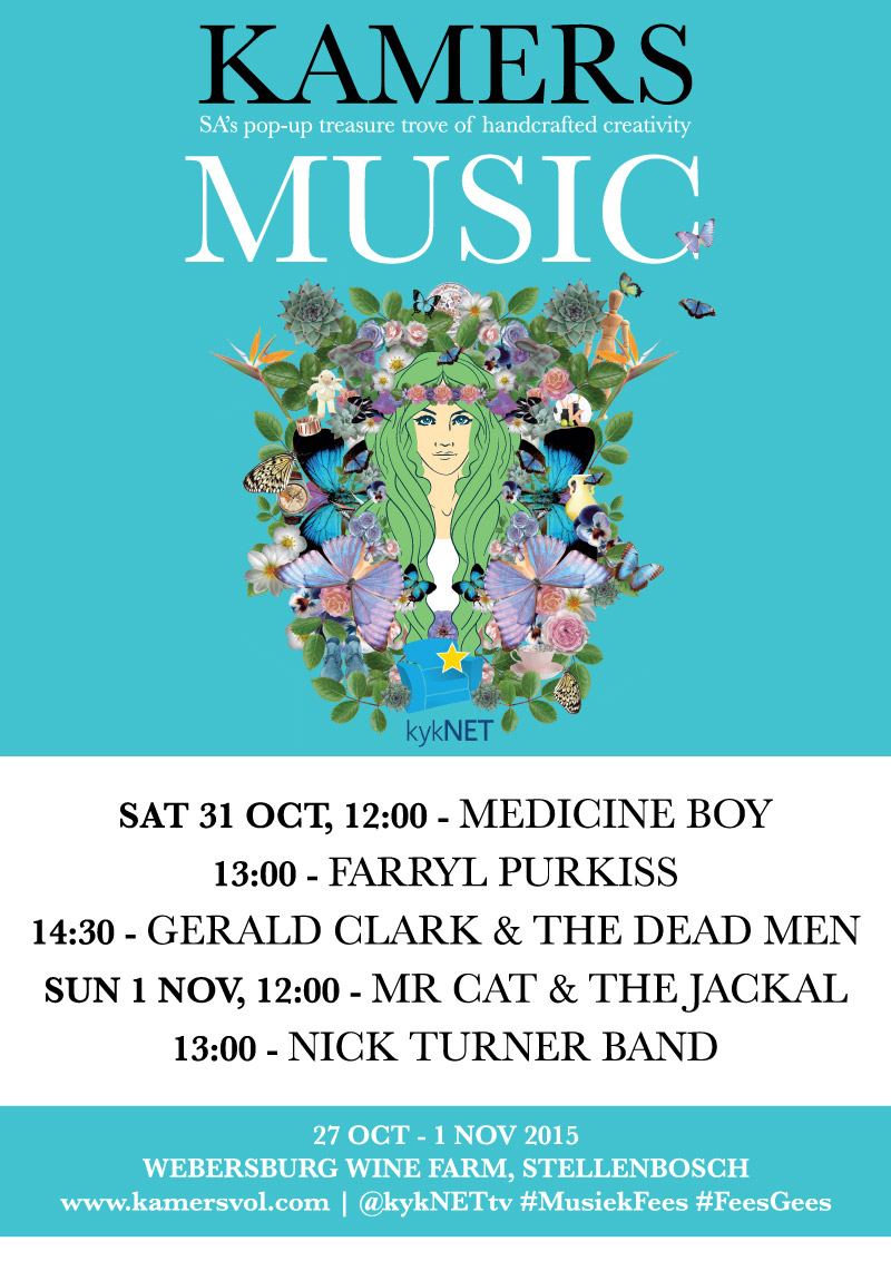 Live Music at KAMERS 2015 Stellenbosch, 31 Oct & 1 Nov - www.kamersvol.com