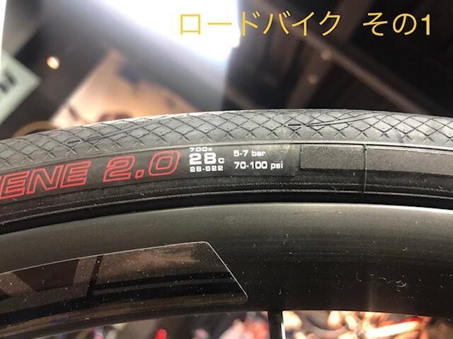 """""""ロードバイクのタイヤ空気圧表示部分"""""""